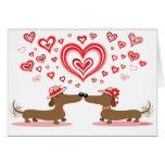 Dachshunds de la tarjeta del día de San Valentín