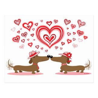 Dachshunds de la tarjeta del día de San Valentín Postal