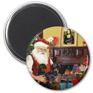 Dachshunds de Santa en casa - (negro 2) Imán Redondo 5 Cm