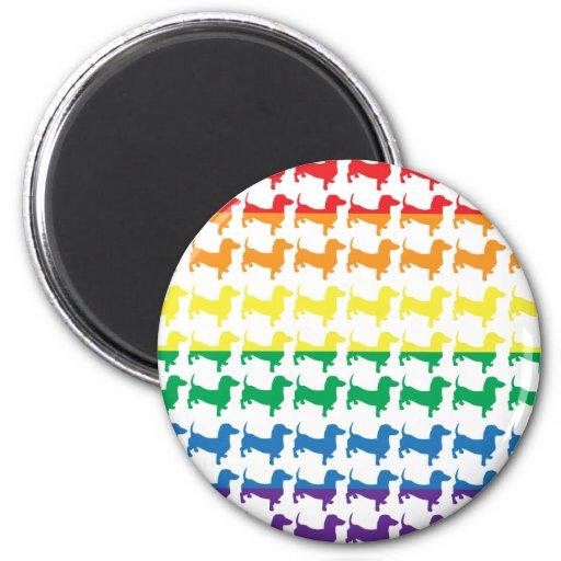 Dachshunds del arco iris del orgullo gay imán redondo 5 cm