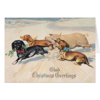 Dachshunds Dogs Chase With Pig Christmas Vintage Greeting Card