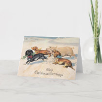 Dachshunds Dogs Chase With Pig Christmas Vintage Holiday Card