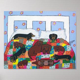 Dachshunds en arte del poster de la cama