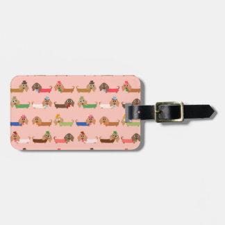 Dachshunds en rosa etiqueta de maleta