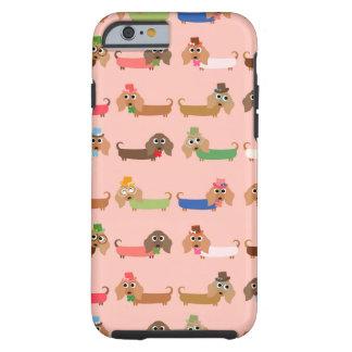 Dachshunds en rosa funda de iPhone 6 tough