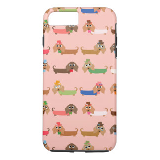 Dachshunds en rosa funda iPhone 7 plus