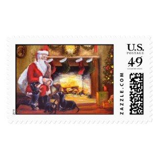 Dachshunds Greeting Santa