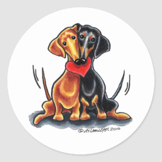 Dachshunds Have Heart Classic Round Sticker