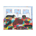 Dachshunds in Bed Canvas Art Canvas Print
