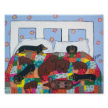 Dachshunds in Bed Poster Art