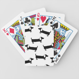 Dachshunds in black and white bicycle playing cards