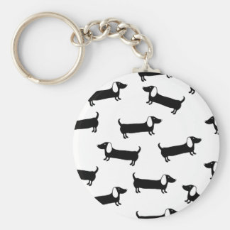 Dachshunds in black and white keychain