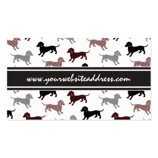 Dachshunds in Damask Cute Pattern Business Card