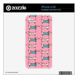 Dachshunds in pink love decals for the iPhone 4S