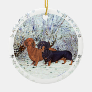 Dachshunds in the Snow Ceramic Ornament