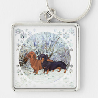 Dachshunds in the Snow Keychain