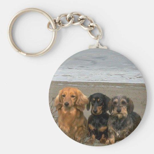 Dachshunds Keychain On The Beach