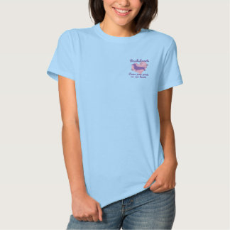Dachshunds Leave Paw Prints Pink Embroidered Shirt