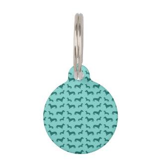 Dachshunds lindos del verde del seafoam placa de mascota