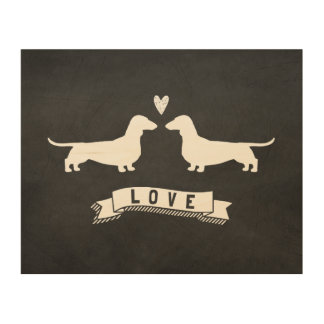 Dachshunds Love - Dog Silhouettes with Heart Wood Wall Art