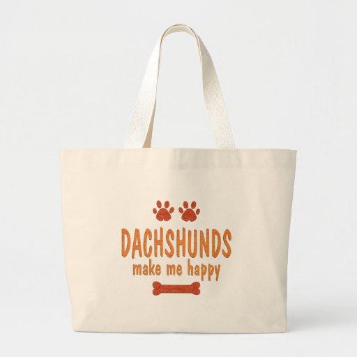 Dachshunds Make Me Happy Jumbo Tote Bag