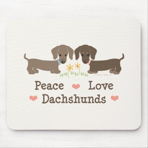 Dachshunds Mousepad del amor de la paz