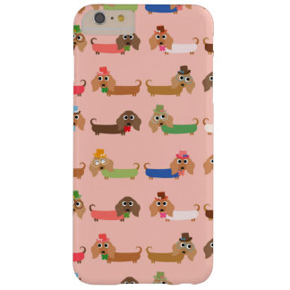 Dachshunds on Pink Barely There iPhone 6 Plus Case