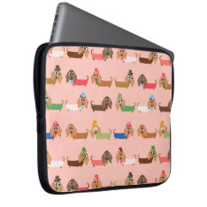 Dachshunds On Pink Computer Sleeve at Zazzle