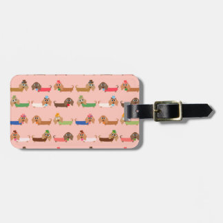 Dachshunds on Pink Luggage Tags