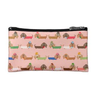 Dachshunds on Pink Makeup Bag