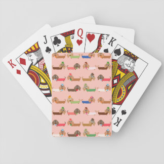 Dachshunds on Pink Playing Cards