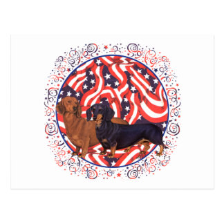Dachshunds Patriotic Flag Postcard