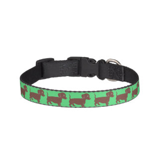 Dachshunds Pattern Green Dog Collar