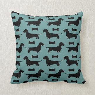 Dachshunds Pattern (Wire Haired Doxies) Throw Pillow