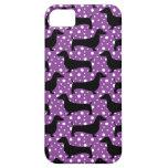 Dachshunds púrpuras de la polca iPhone 5 carcasas