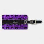 Dachshunds púrpuras personalizados del brillo del  etiquetas para equipaje