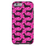 Dachshunds rosados de la polca funda de iPhone 6 tough