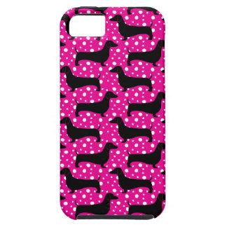 Dachshunds rosados de la polca iPhone 5 fundas