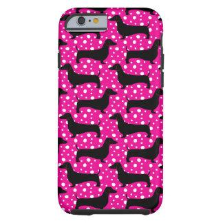 Dachshunds rosados de la polca funda resistente iPhone 6