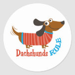 Dachshunds Rule Classic Round Sticker