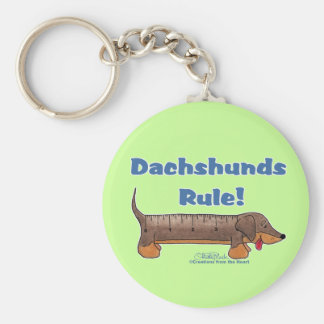 Dachshunds Rule Basic Round Button Keychain