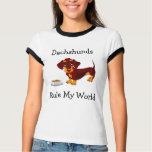 Dachshunds Rule My World Ladies Ringer Tee Shirt