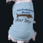 """Dachshunds Rule Shirt<br><div class=""""desc"""">Great for any Dachshund lover ...  this cute cartoon Dachshund sports a ruler along his back to show """"Dachshunds rule""""! Original design by Christie Black of Creations from the Heart.</div>"""