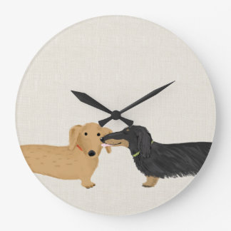 Dachshunds Smooch Large Clock