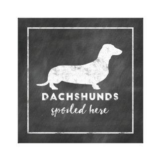 Dachshunds Spoiled Here Vintage Chalkboard Canvas Print