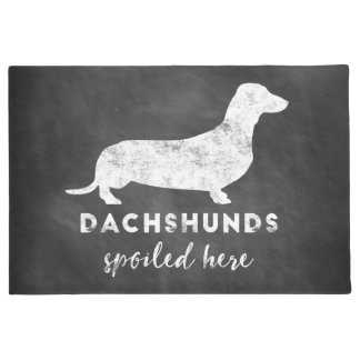 Dachshunds Spoiled Here Vintage Chalkboard Doormat