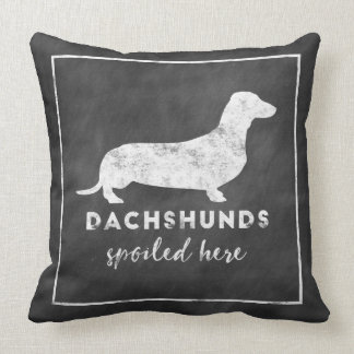 Dachshunds Spoiled Here Vintage Chalkboard Throw Pillow