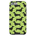 Dachshunds verdes de la polca funda de iPhone 6 tough