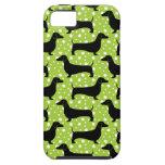 Dachshunds verdes de la polca iPhone 5 fundas