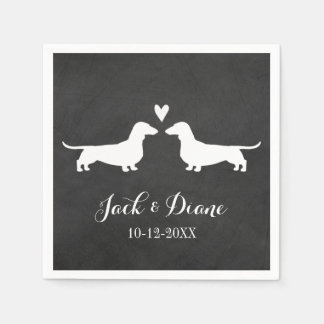 Dachshunds Wedding Couple with Custom Text Standard Cocktail Napkin
